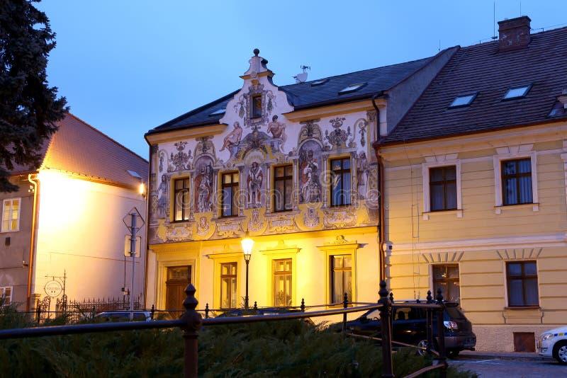 Unesco-Stad Kutna Hora bij nacht, Tsjechische Republiek royalty-vrije stock afbeelding