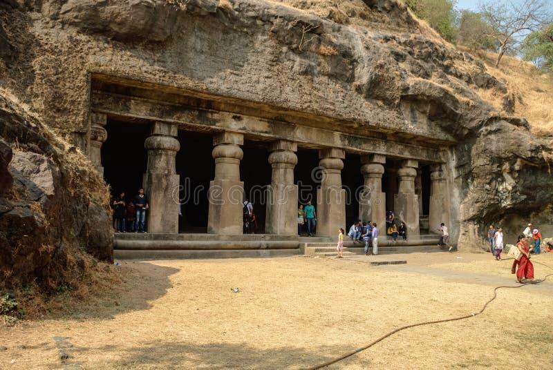 UNESCO Templo hindu, cavernas da ilha de Elephanta, perto de Mumbai, Bomba fotografia de stock royalty free