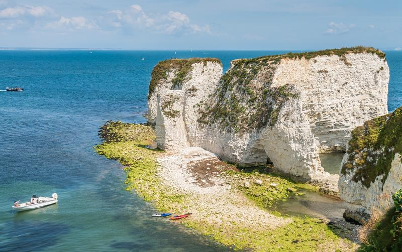Unesco-världsarv - gamla Harry Rocks i ö av Purbeck royaltyfri foto