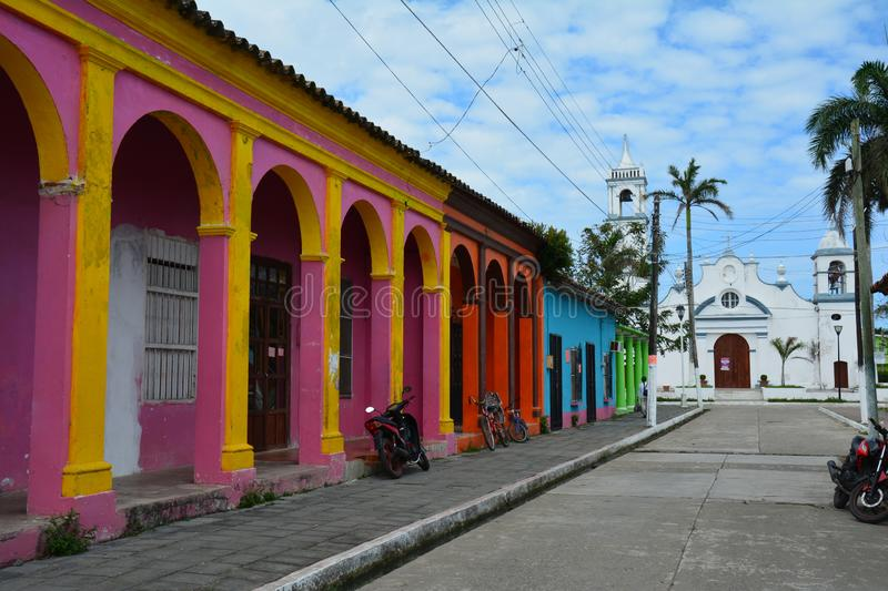 UNESCO Village of Tlacotalpan Veracruz in Mexico. The beautiful and picturesque little town of Tlacotalpan on the shores of a small river in the province of stock images