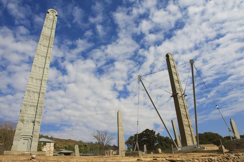 UNESCO World Heritage obelisks of Axum, Ethiopia. royalty free stock photography
