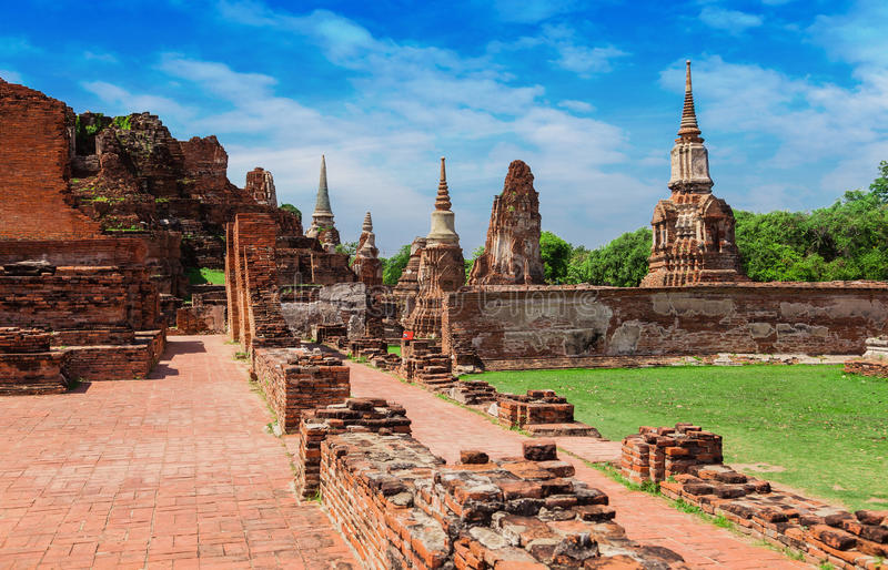 UNESCO World Heritage Site ancient temple in the former royal city of Ayutthaya royalty free stock photography