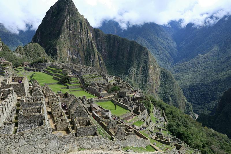 Machu Picchu Peru Details. UNESCO World Heritage Site in Latin America and the Caribbean. Machu Picchu is a 15th-century Inca citadel situated on a mountain stock image
