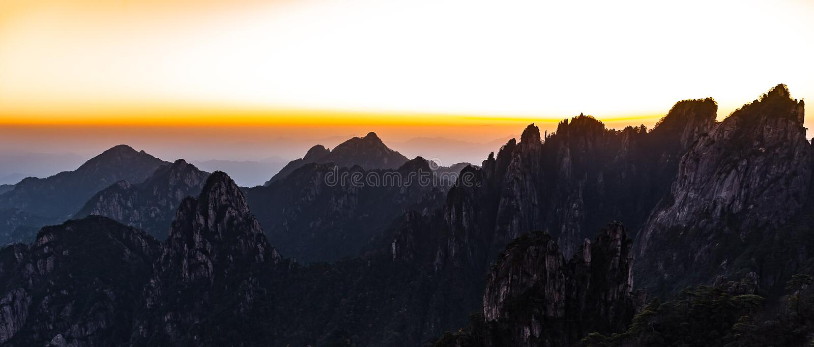 UNESCO World Heritage Site Natural beautiful sunrise landscape of Huangshan mountain scenery  Yellow mountain  in Anhui CHINA, royalty free stock photo