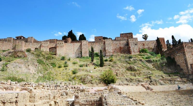 UNESCOvärldsarv: Yttre sikt av Alcazaba, Malaga, Spanien fotografering för bildbyråer