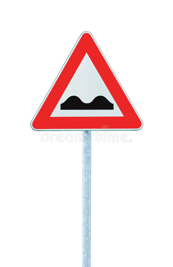 Download Uneven Road Sign With Pole Isolated On White Stock Image - Image of auto, metallic: 14192163