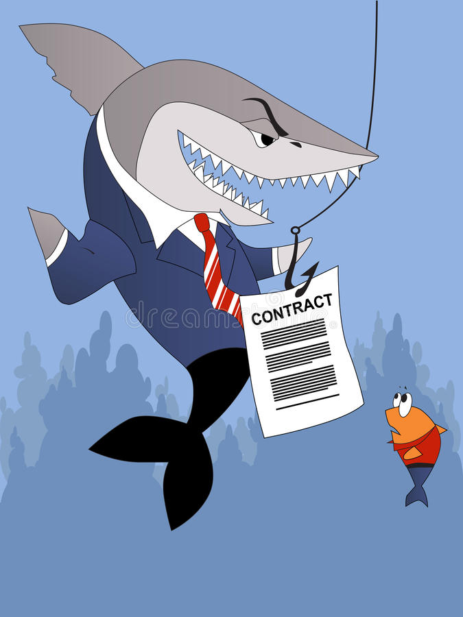 Unfair contract. Scary business shark offers a contract to a small fish customer stock illustration