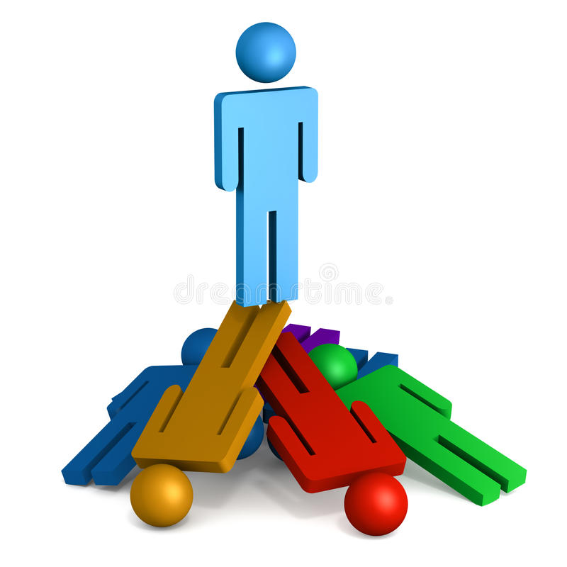Unfair success. Dirty or unfair success concept, one person standing on other fallen competitors, unfair practices and success by hook or crook stock illustration