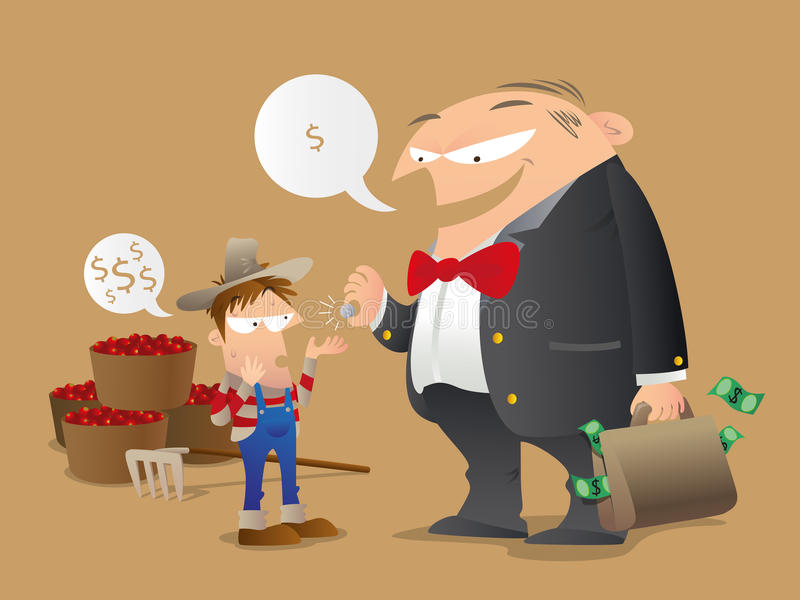 Unfair Trade. Cartoon illustration of concept of unfair trade. A hard-working coffee grower gets a tiny amount of return from a greedy big buyer vector illustration