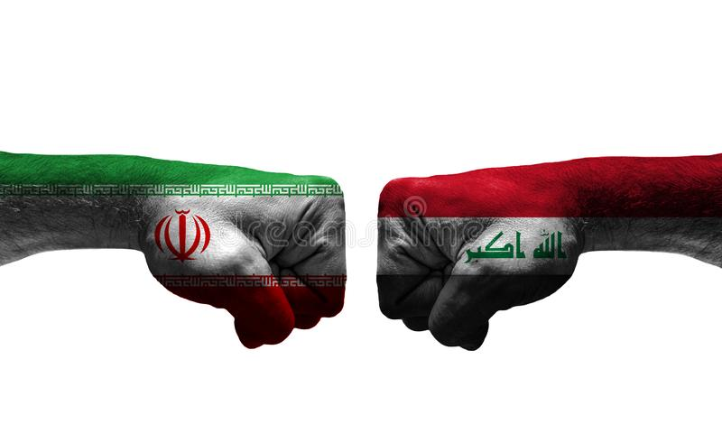 The War between 2 Countries. The unfair War between Iran and Iraq countries / closed fist stock images