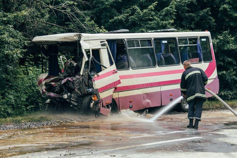 Unfall des Busses lizenzfreie stockfotos