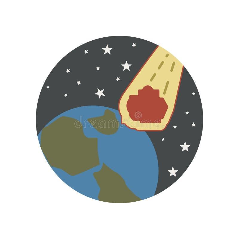 Unfall, fallend, Meteor, Sterne, Weltfarbikone Element der Illustration der globalen Erwärmung Zeichen und Symbolsammlungsikone f vektor abbildung
