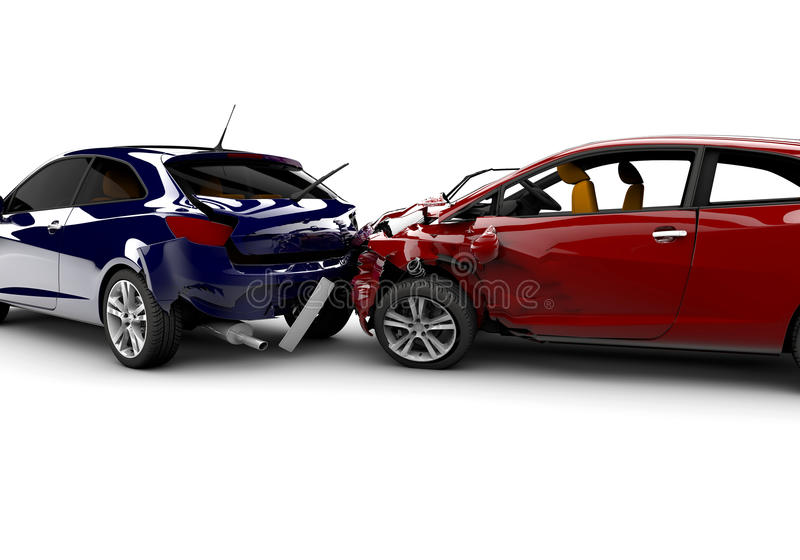 Unfall mit zwei Autos stock abbildung. Illustration von blau - 23841116