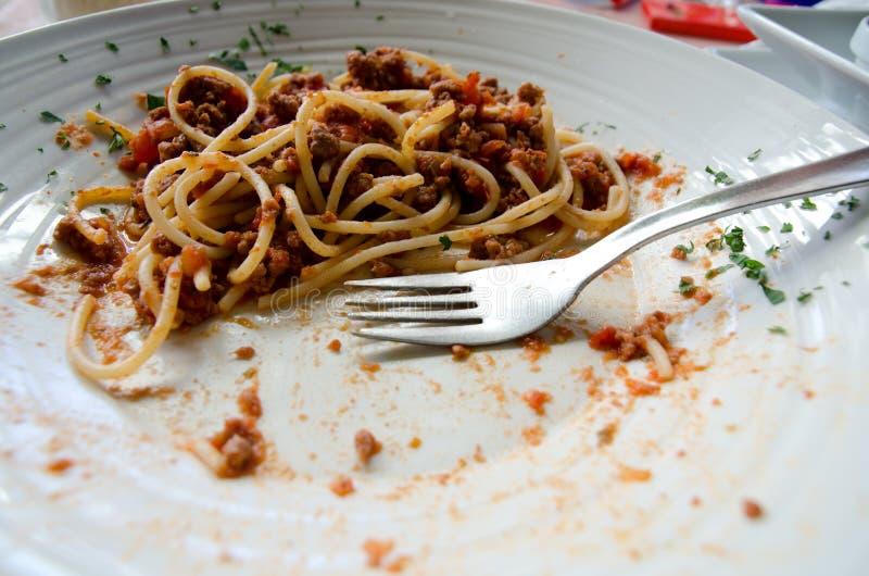 Unfertige Mahlzeit stockfoto