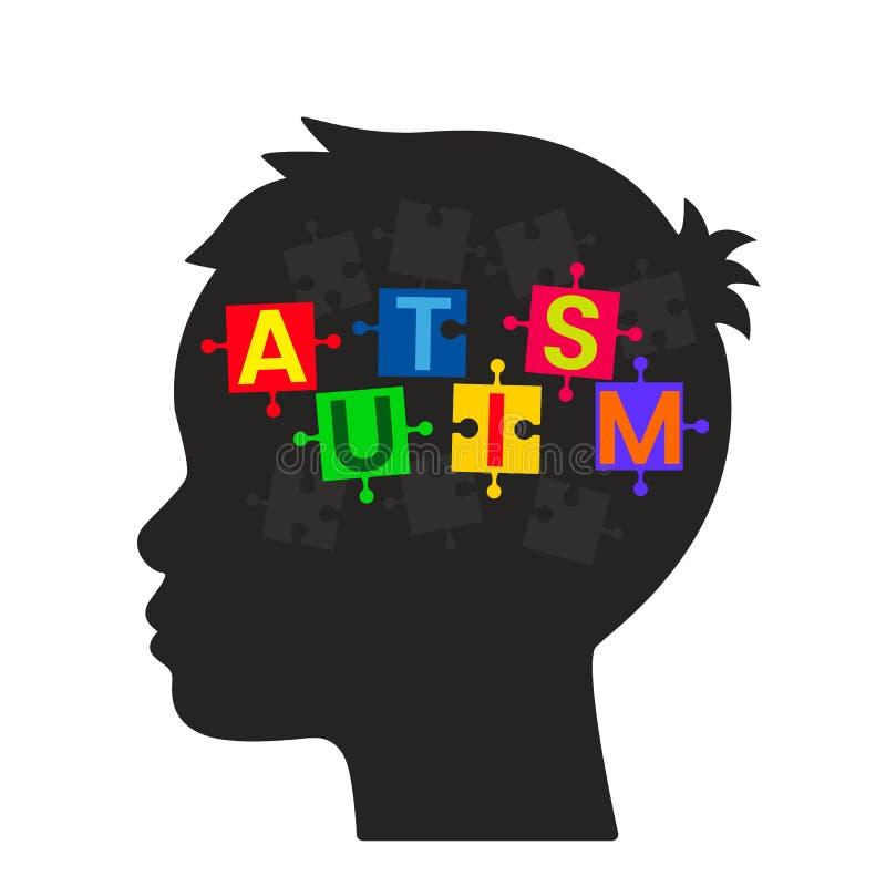 Unfertige Puzzlespiele im Kopf eines Kindes lizenzfreie abbildung
