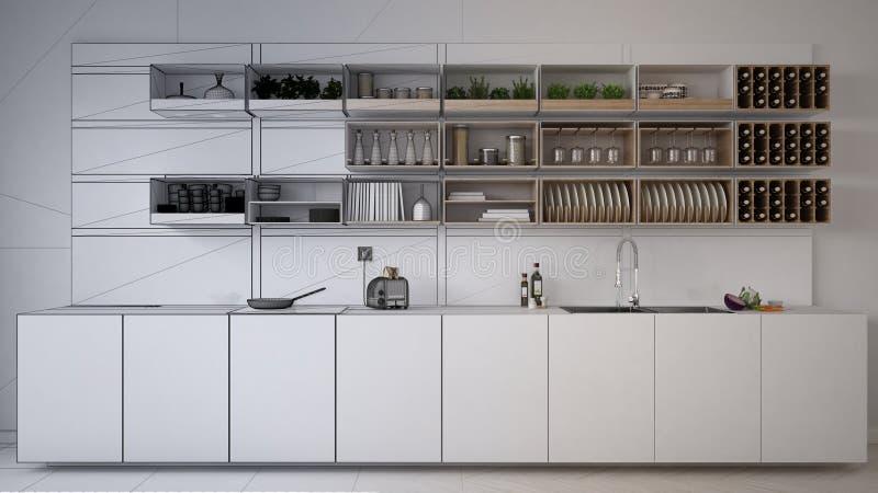 Unfertiger Projektentwurf der minimalistic Küche, Innenarchitektur der modernen Architektur lizenzfreie stockbilder