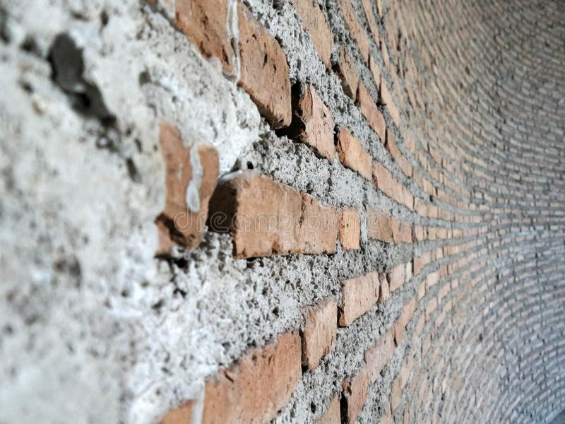 Unfinish ref brick wall. Red brick wall background stock photos
