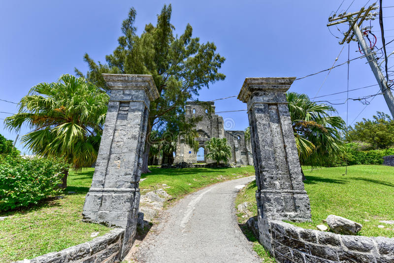 Unfinished Church - Bermuda. Unfinished Church. It's ruins are a protected historic monument and part of the St. George's World Heritage Site stock photography