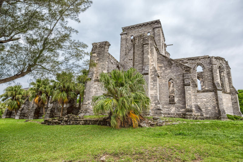 The Unfinished Church in Saint George, Bermuda stock photo