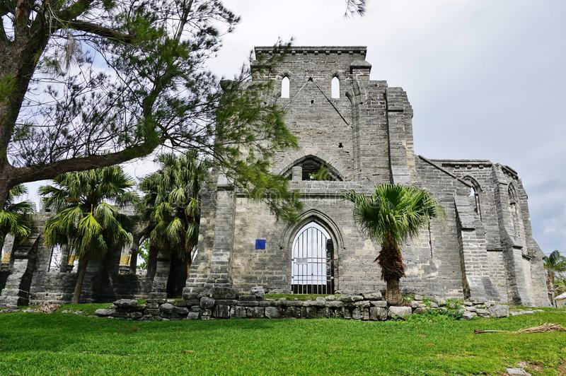 The Unfinished Church in St. George, Bermuda. stock photo