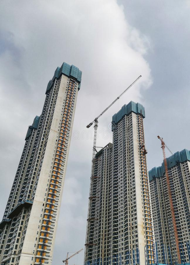 Unfinished commercial apartments in wuhan city stock images