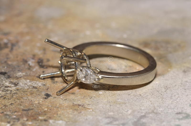 Unfinished diamond ring in the work shop royalty free stock photos