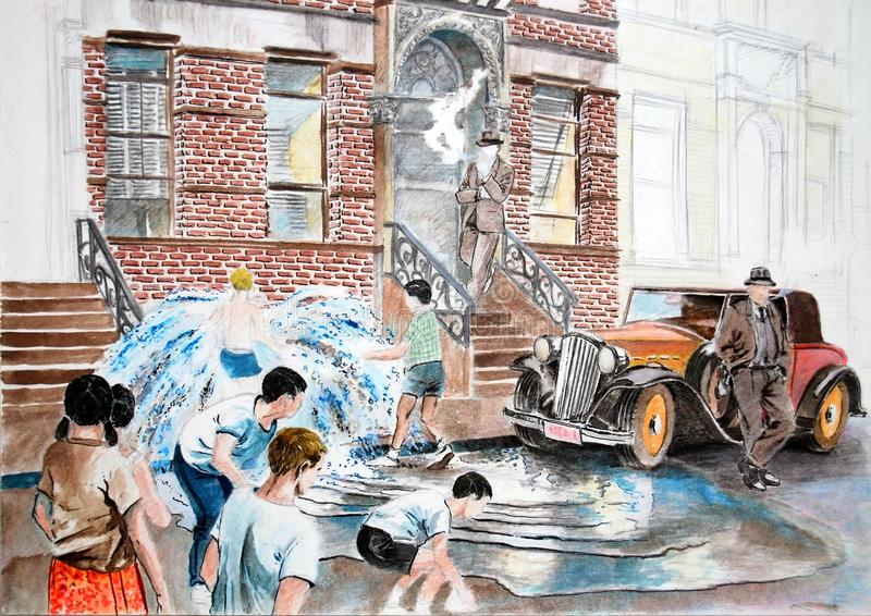 Unfinished draw. Photography of a hand made draw representing a Manhattan street in the forties or fifties with several children playing with a fire hydrant and vector illustration