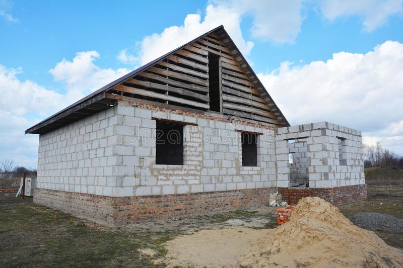 Unfinished house from autoclaved aerated concrete blocks, New House construction site. Photo stock photos