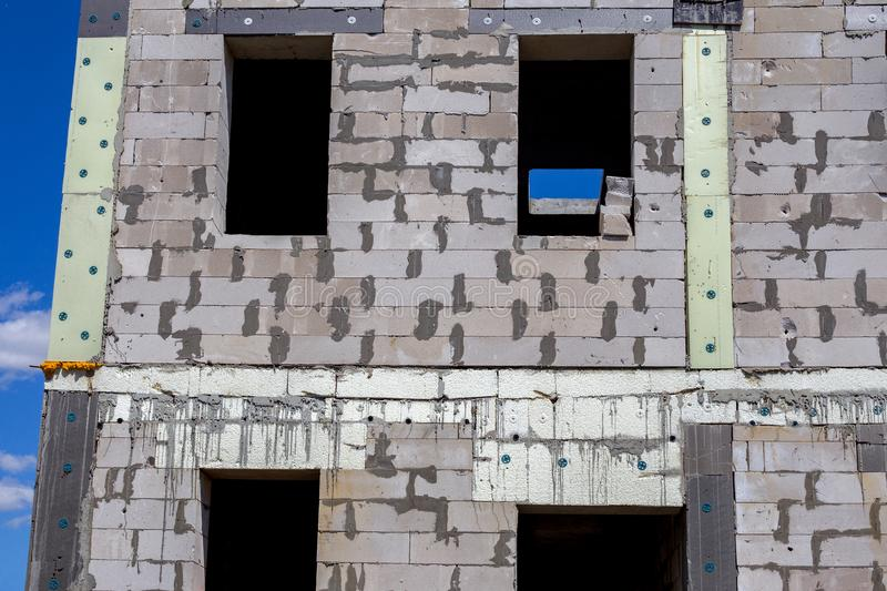 Unfinished house of brick, still under construction royalty free stock image