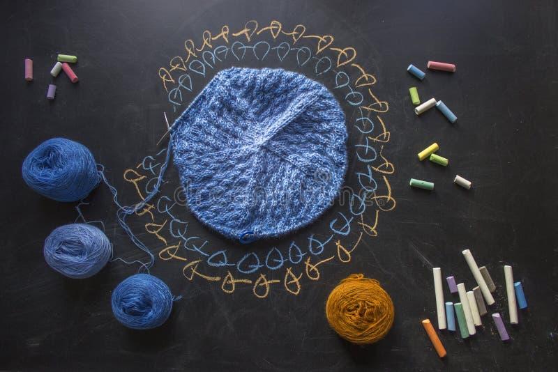Unfinished knittin stock photos