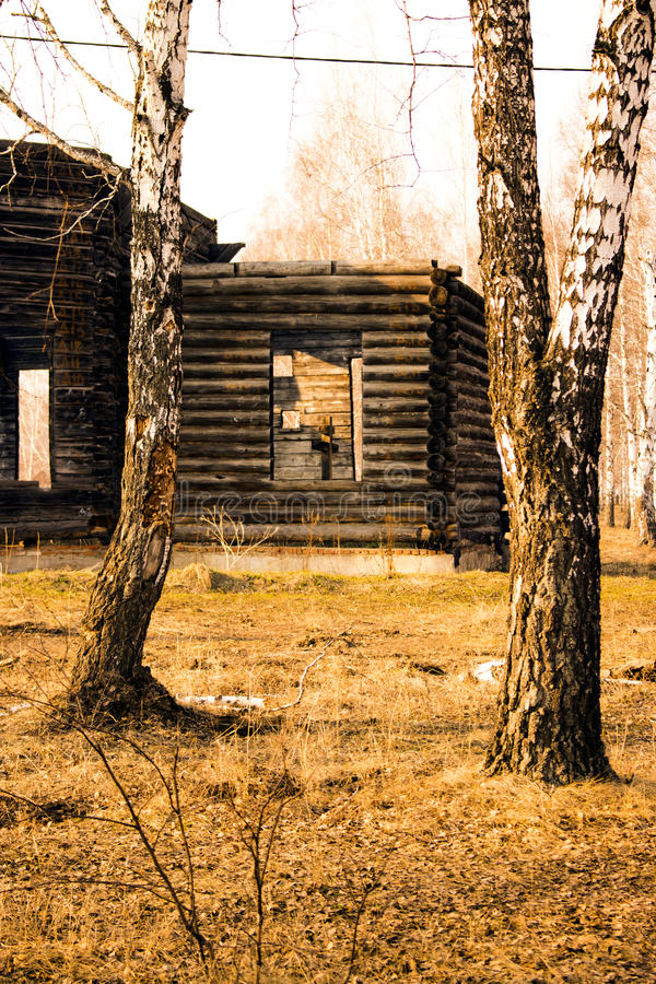 Unfinished old wooden church in the wood. royalty free stock photography