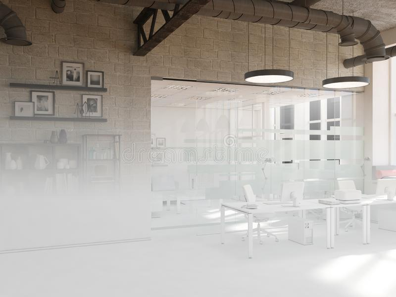 Unfinished project of country style coworking office interior. 3D Rendering royalty free stock photo