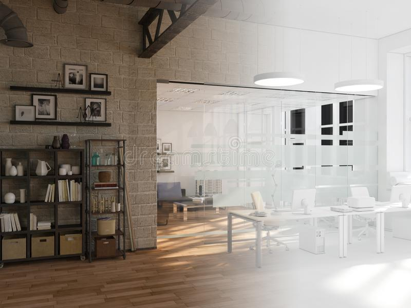 Unfinished project of country style coworking office interior. 3D Rendering royalty free stock photography