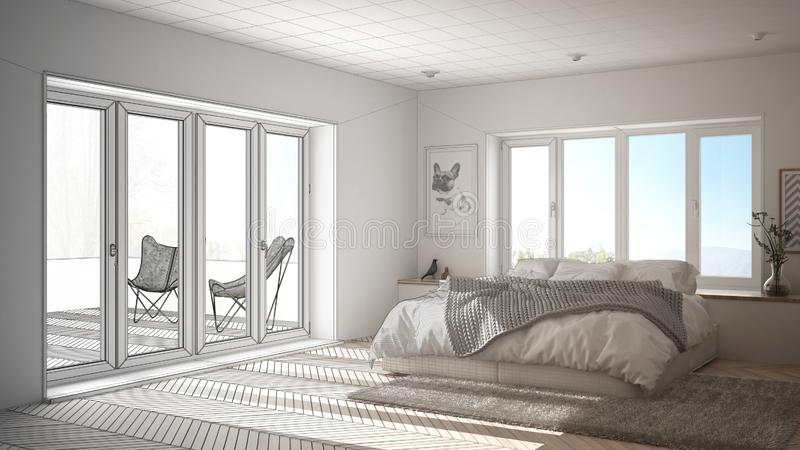 Unfinished project draft interior design, scandinavian white and green minimalist bedroom with panoramic window, fur carpet and he. Rringbone parquet stock photos