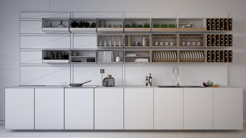 Unfinished project draft of minimalistic kitchen, modern architecture interior design royalty free stock images