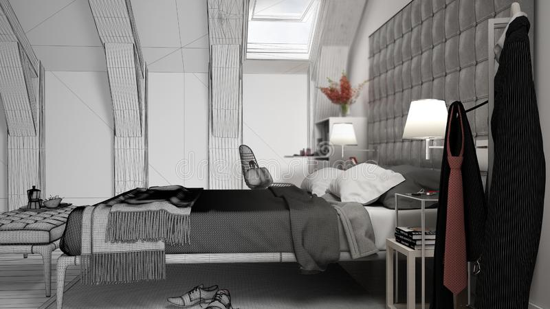 Unfinished project draft sketch of contemporary gray bedroom in luxury attic, bed and carpet, classic interior design royalty free illustration