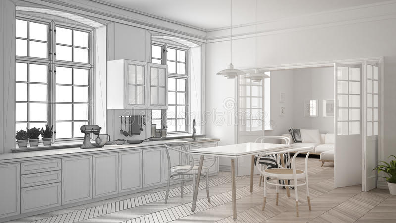 Unfinished Project Of Minimalist White Kitchen, Sketch Abstract ...