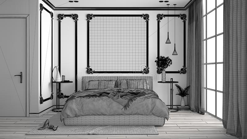 Unfinished project of of modern bedroom in classic room with wall moldings, parquet, double bed with duvet and pillows, mirror and. Decors, interior design vector illustration