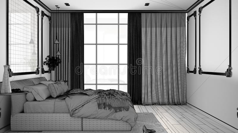 Unfinished project of of modern bedroom in classic room with wall moldings, parquet, double bed with duvet and pillows, mirror and. Decors, interior design stock illustration