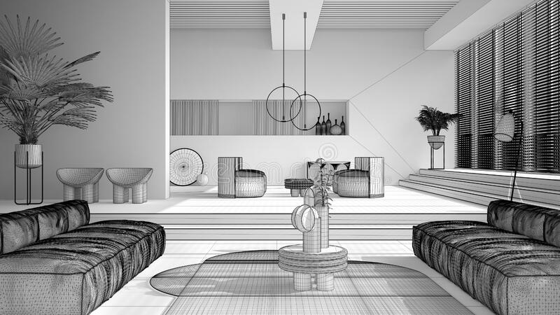 Unfinished white project draft, contemporary living room, sofa, armchair, carpet, tables, steps and potted plants, pendant lamps. Interior design atmosphere stock illustration