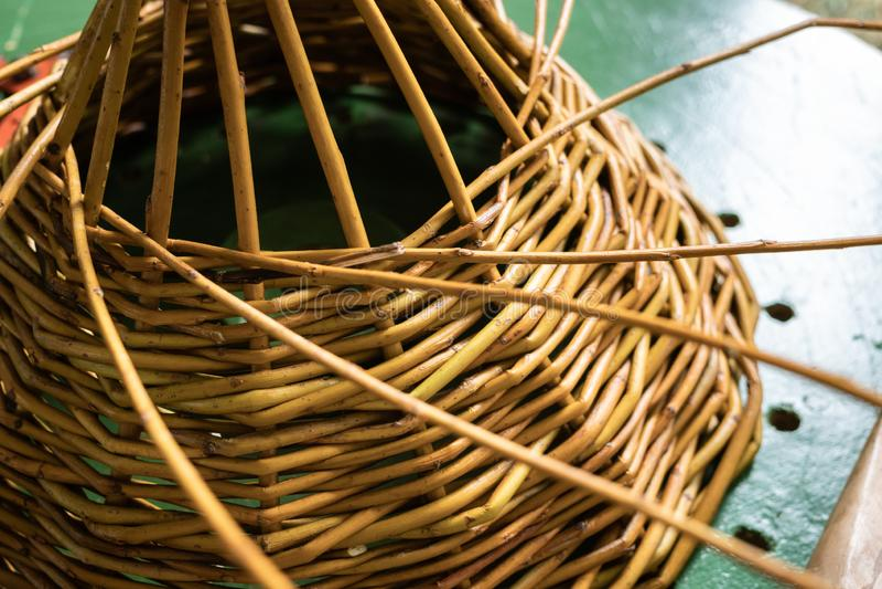 Unfinished Wickerwork basket. Handcraft concept stock images