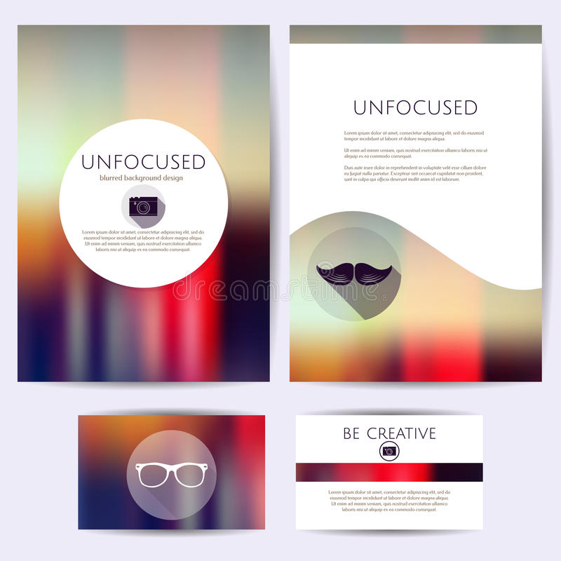 Unfocused Design Minimalistic, Satz Schablonen Identität, brennend für Karten, Ordner ein vektor abbildung