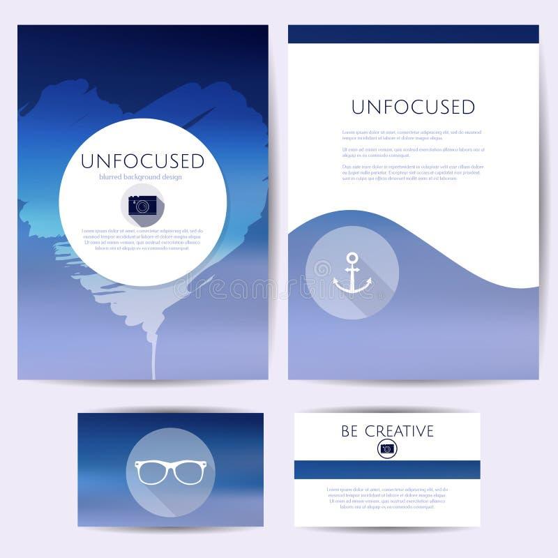 Unfocused Design Minimalistic, Satz Schablonen Identität, brennend für Karten, Ordner ein stock abbildung