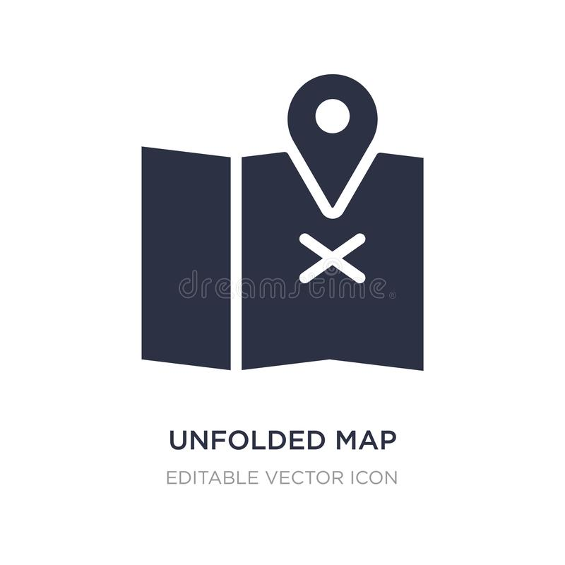 unfolded map with location mark icon on white background. Simple element illustration from Travel concept stock illustration
