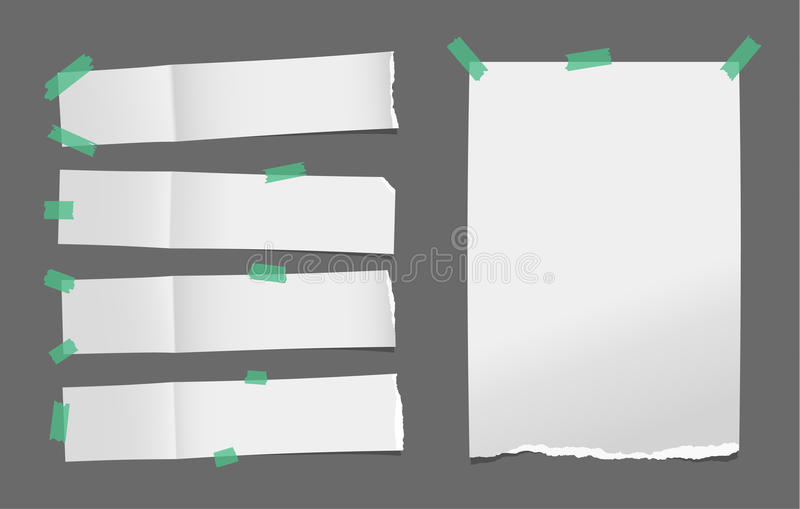 Unfolded ripped white card, note paper or blank brochure, leaflet with shadow stuck with green sticky tape on dark royalty free illustration