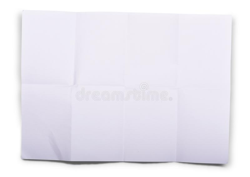 Unfolded white paper sheet. Isolated over white background stock photos