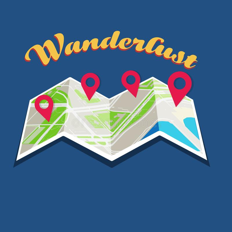 City Travel guide unfolding map concept. Unfolding map with multiple poinetrs over it and wanderlust text over blue background stock illustration