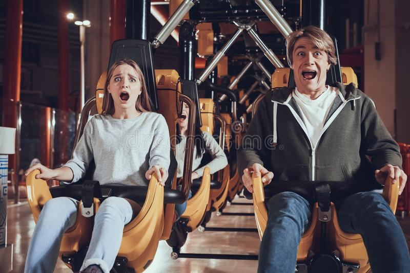Unforgettable moments in amusement park. stock image