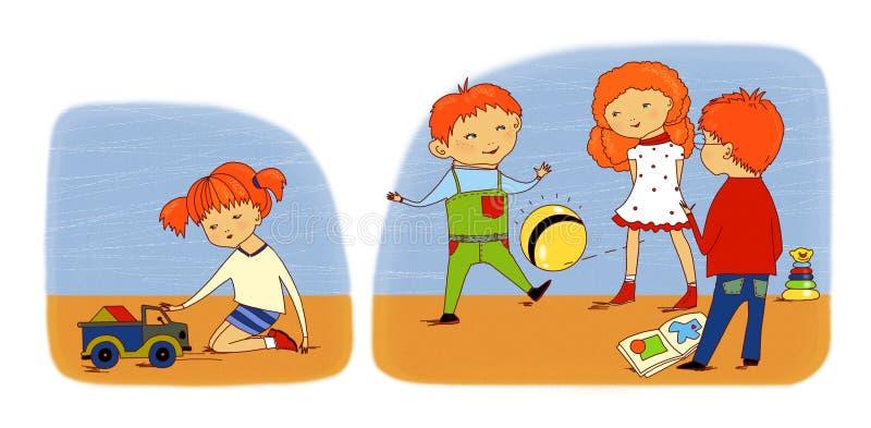 Φιλία και unfriendliness παιδιών Τρία μόνιμα παιδιά αφομοιώνουν και παίζουν τη σφαίρα, το κορίτσι κάθεται στην πλευρά και παίζει  ελεύθερη απεικόνιση δικαιώματος
