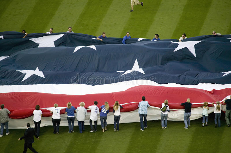 Unfurling of gigantic American Flag. During opening ceremony of National League Championship Series (NLCS), Dodger Stadium, Los Angeles, CA on October 12, 2008 stock photo